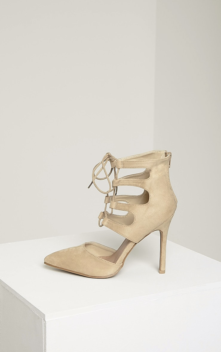 Lydia Cream Faux Suede Lace Up Heeled Sandals 5
