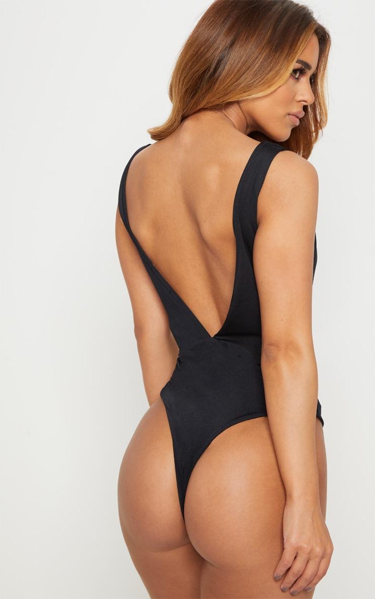 Petite Black Plunge Swimsuit 2