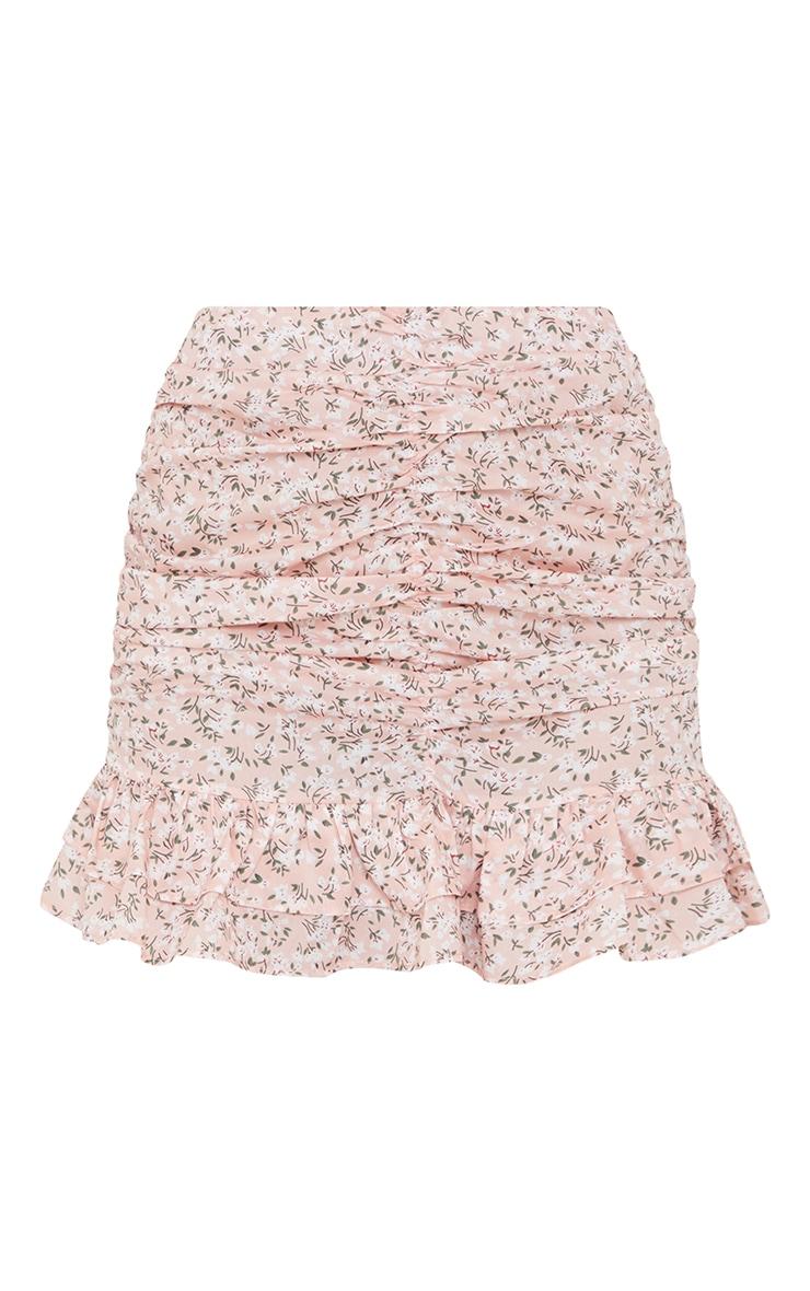 Baby Pink Printed Ruched Frill Hem Mini Skirt 6