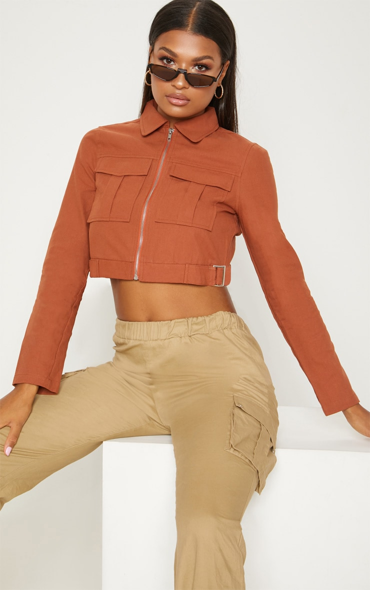 Tan Cropped Trucker