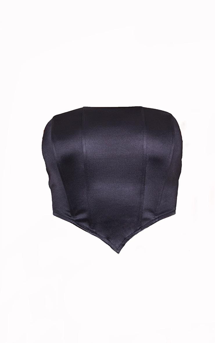 Black Stretch Satin Binding Detail Corset 6