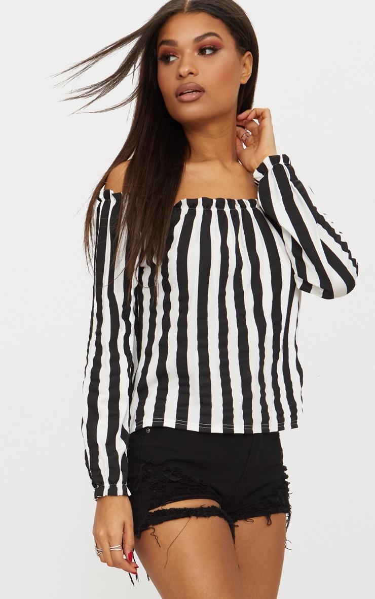 Mono Stripe Bardot Jersey Top  1
