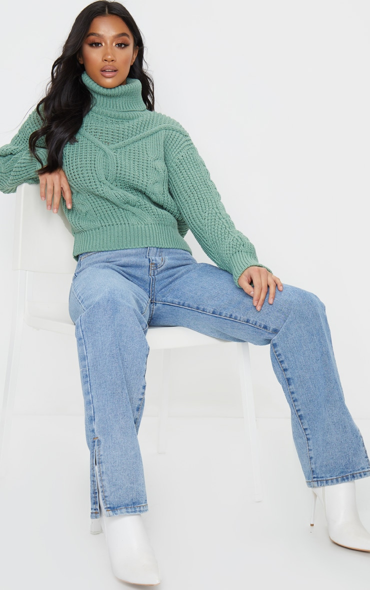 Petite Sage Green Roll Neck Knitted Long Sleeve Jumper 4
