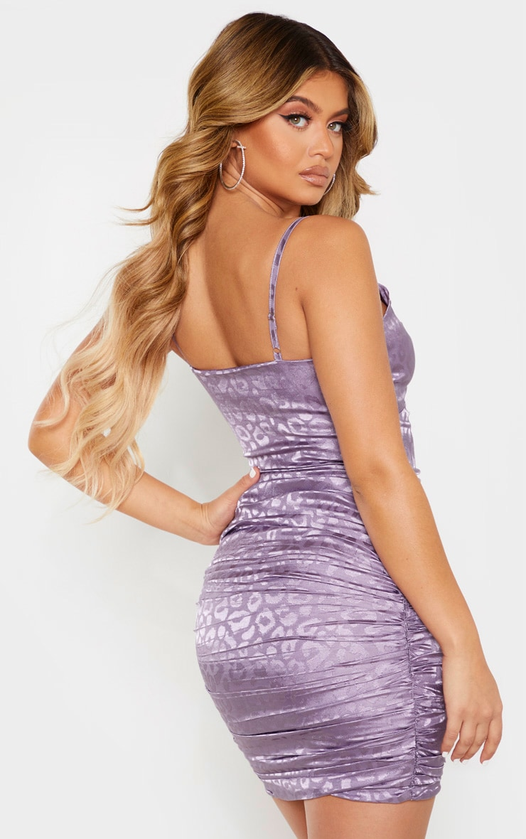 Lilac Strappy Leopard Print Ruched Bodycon Dress 2