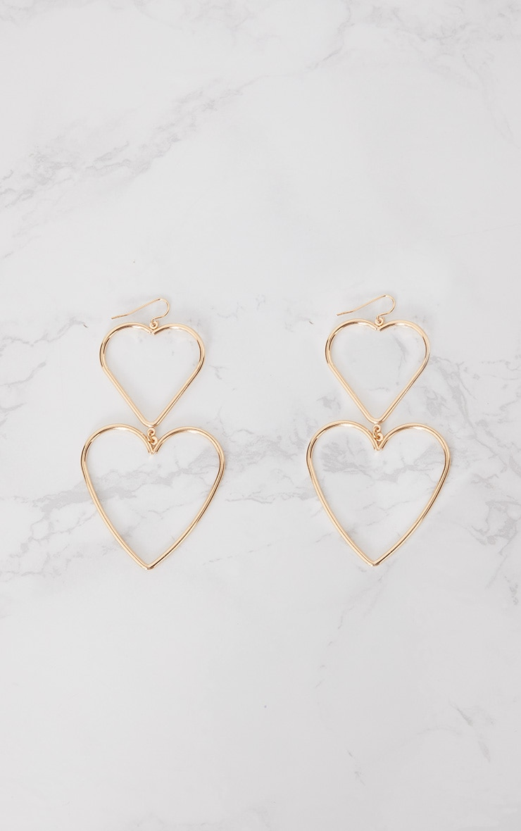 Gold Double Heart Drop Earrings 3