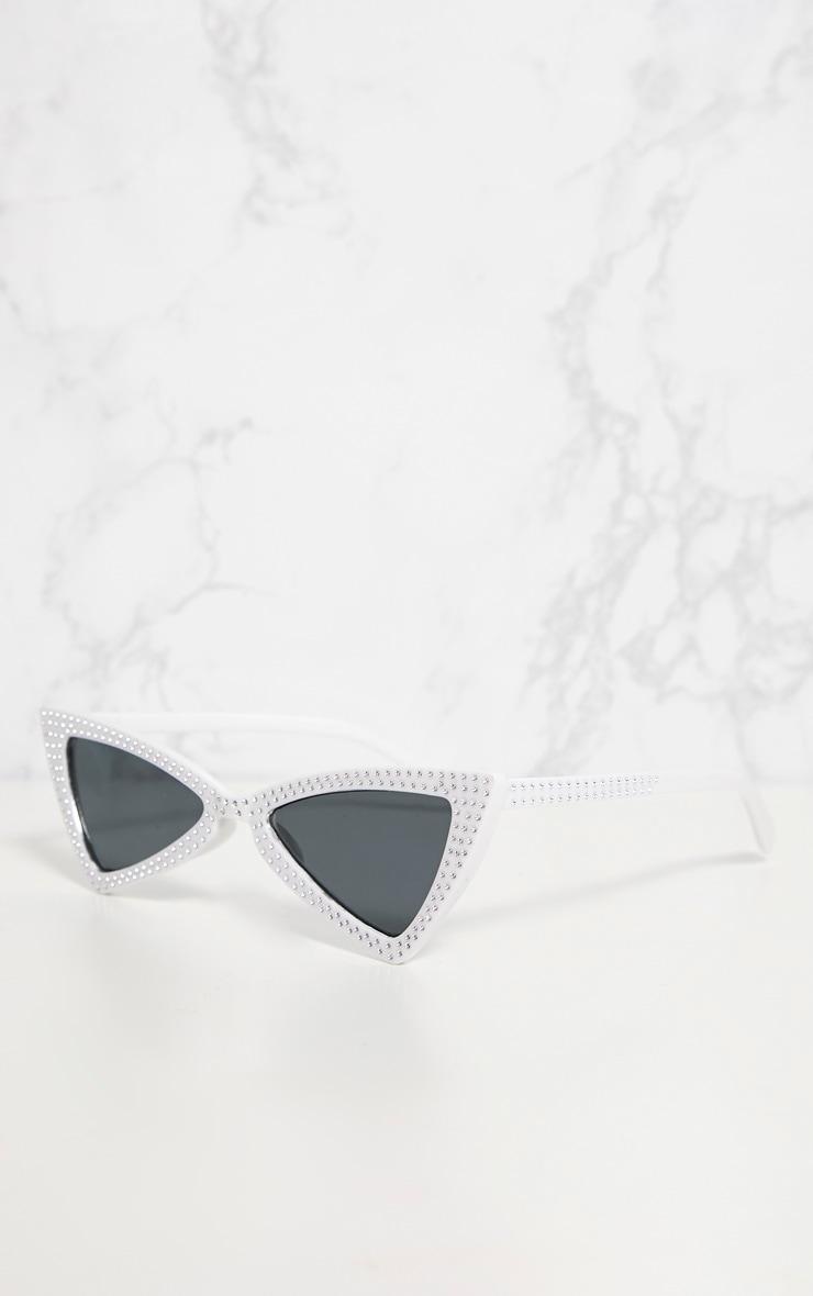 White Diamante Triangle Sunglasses 3