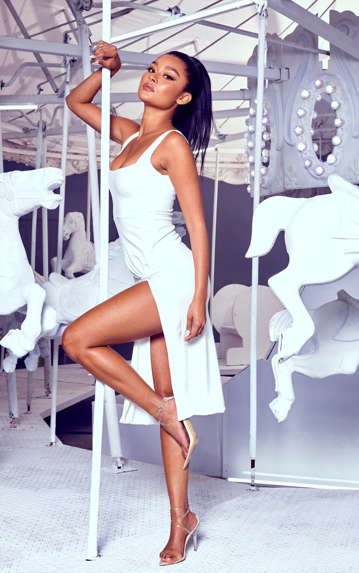 White Twist Extreme Split Midi Dress 4