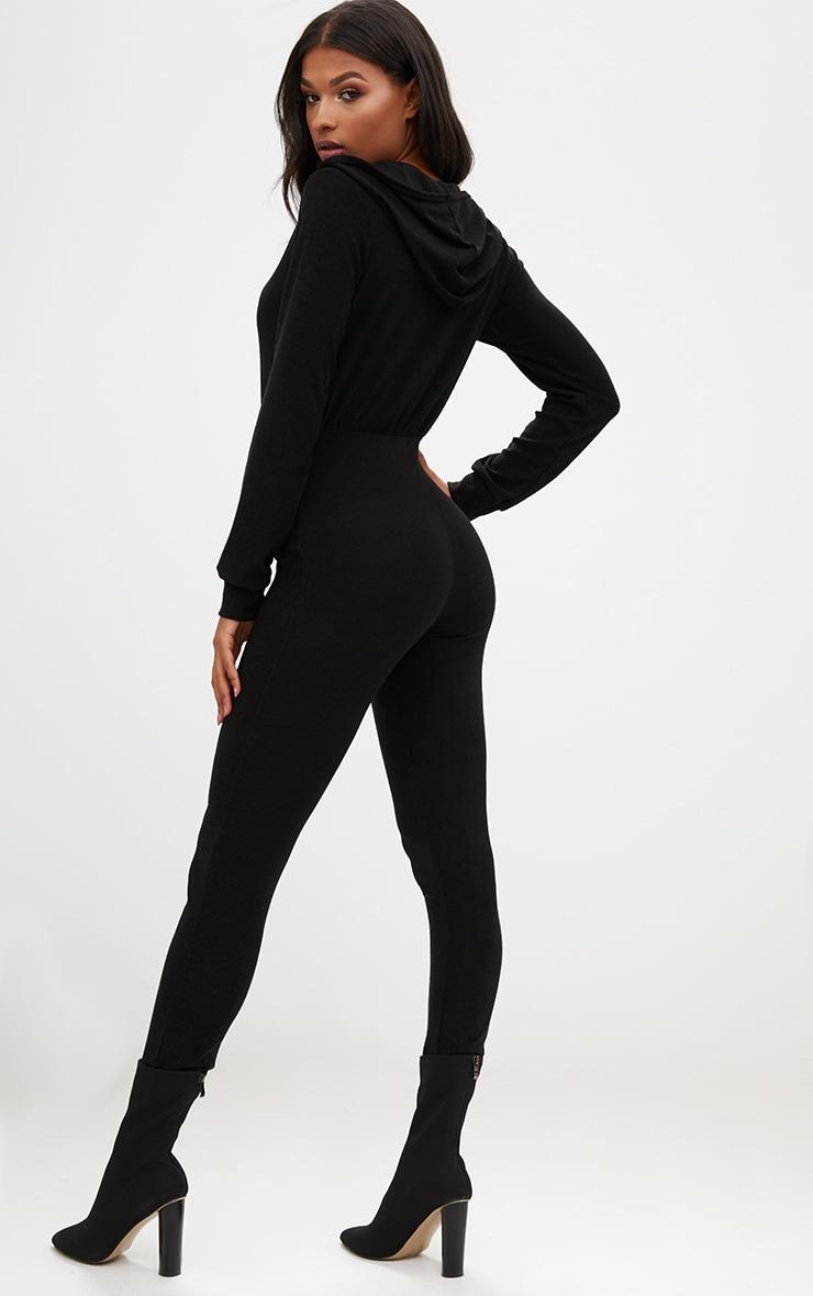 Black Hooded Zip through Jumpsuit 2