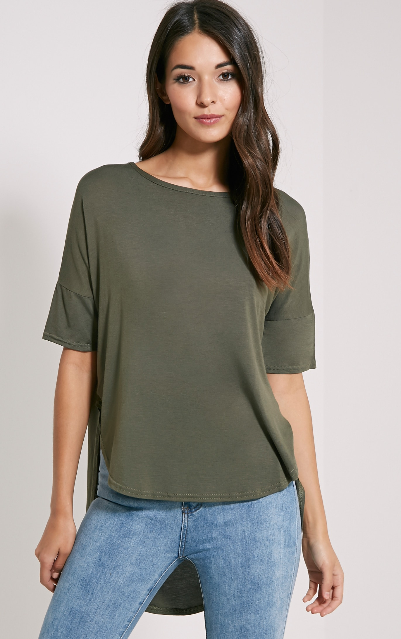 Basic Khaki Dip Hem Loose T-Shirt 1