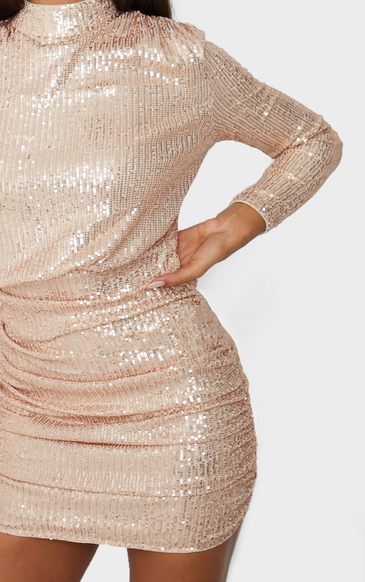 Rose Gold Sequin High Neck Open Back Gathered Skirt Bodycon Dress 5
