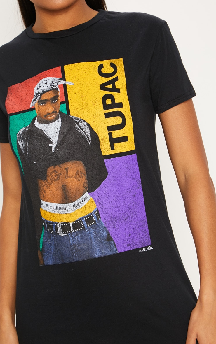 Black Tupac Oversized T Shirt Dress 5