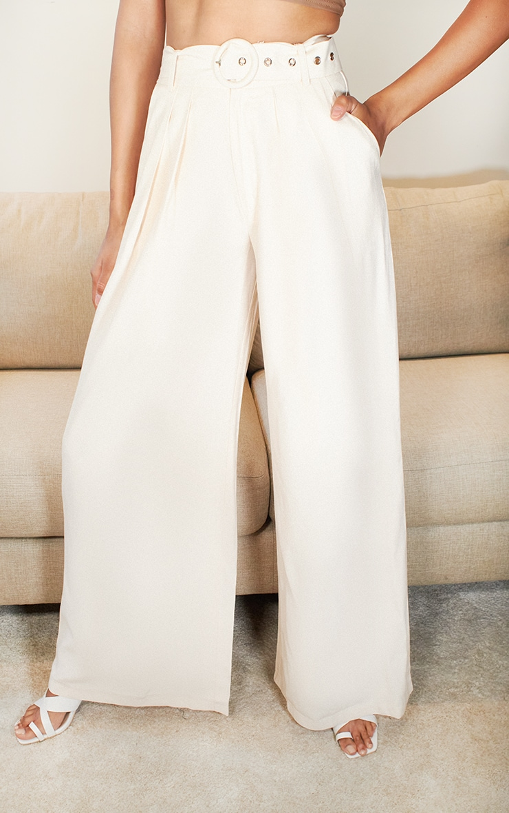 Cream Belted Extreme Wide Leg Pants 2