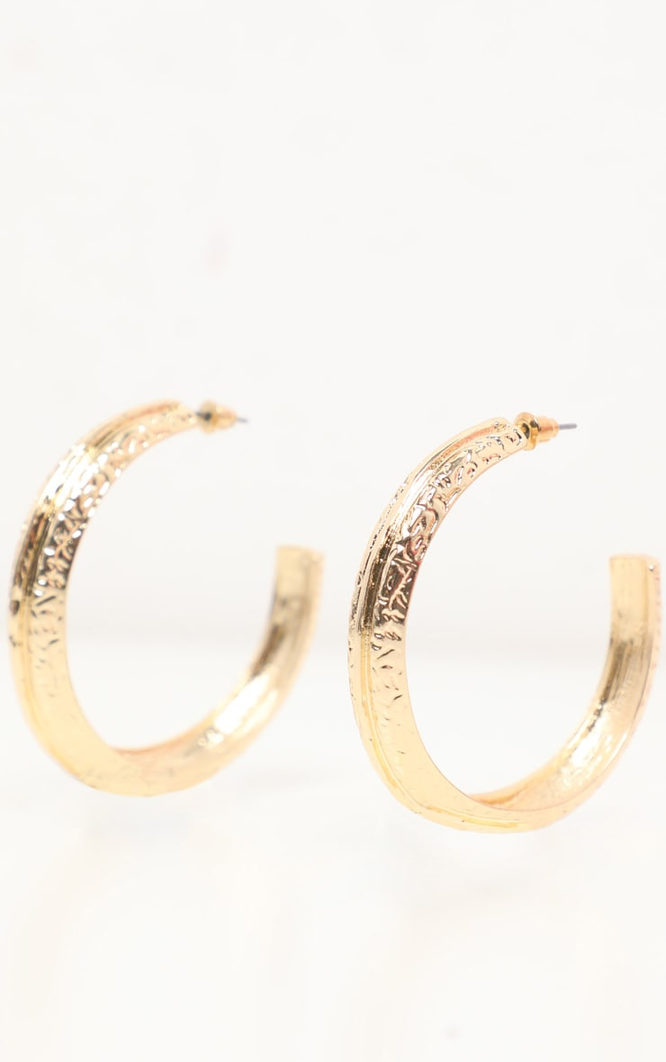 Gold Textured Tubular Hoop Earrings 3