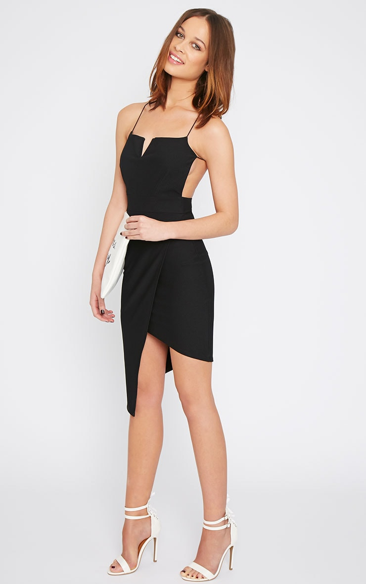 Raye Black Cross Back Asymmetric Dress  5
