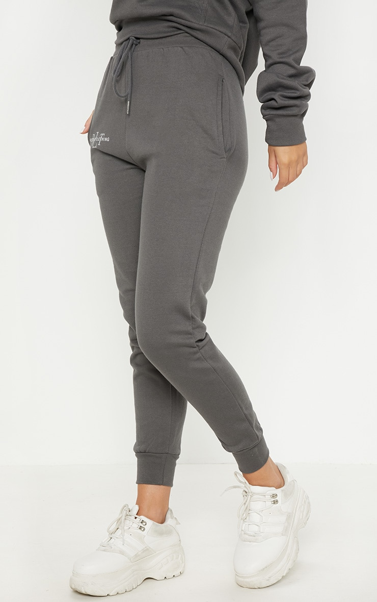 PRETTYLITTLETHING Charcoal Printed Joggers 2