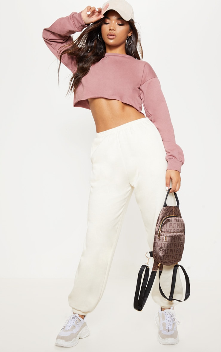 Mauve Cut Off Crop Longsleeve Sweater  4