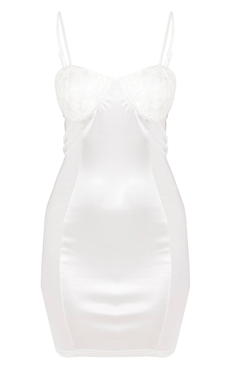 White Lace Cup Satin Mesh Insert Bodycon Dress 3
