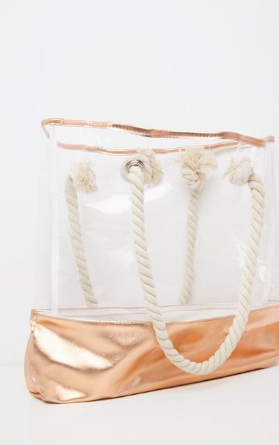 White And Gold Beach Bag