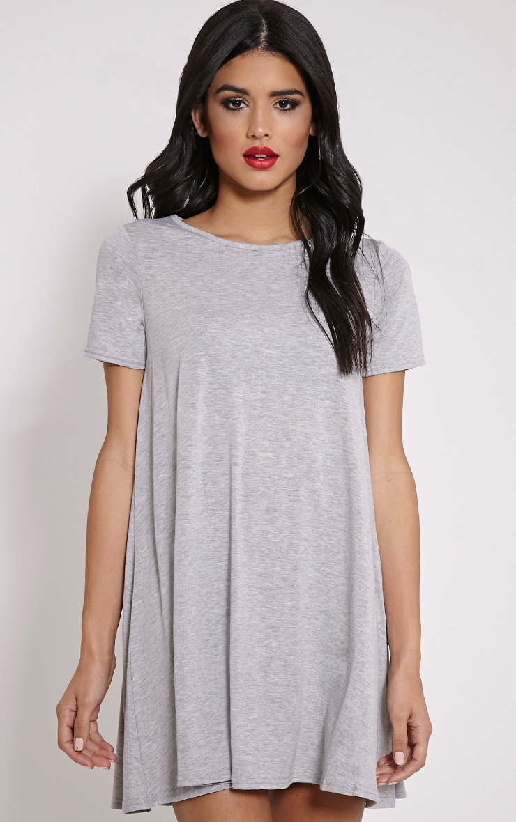 Basic Grey Jersey Swing Dress 1
