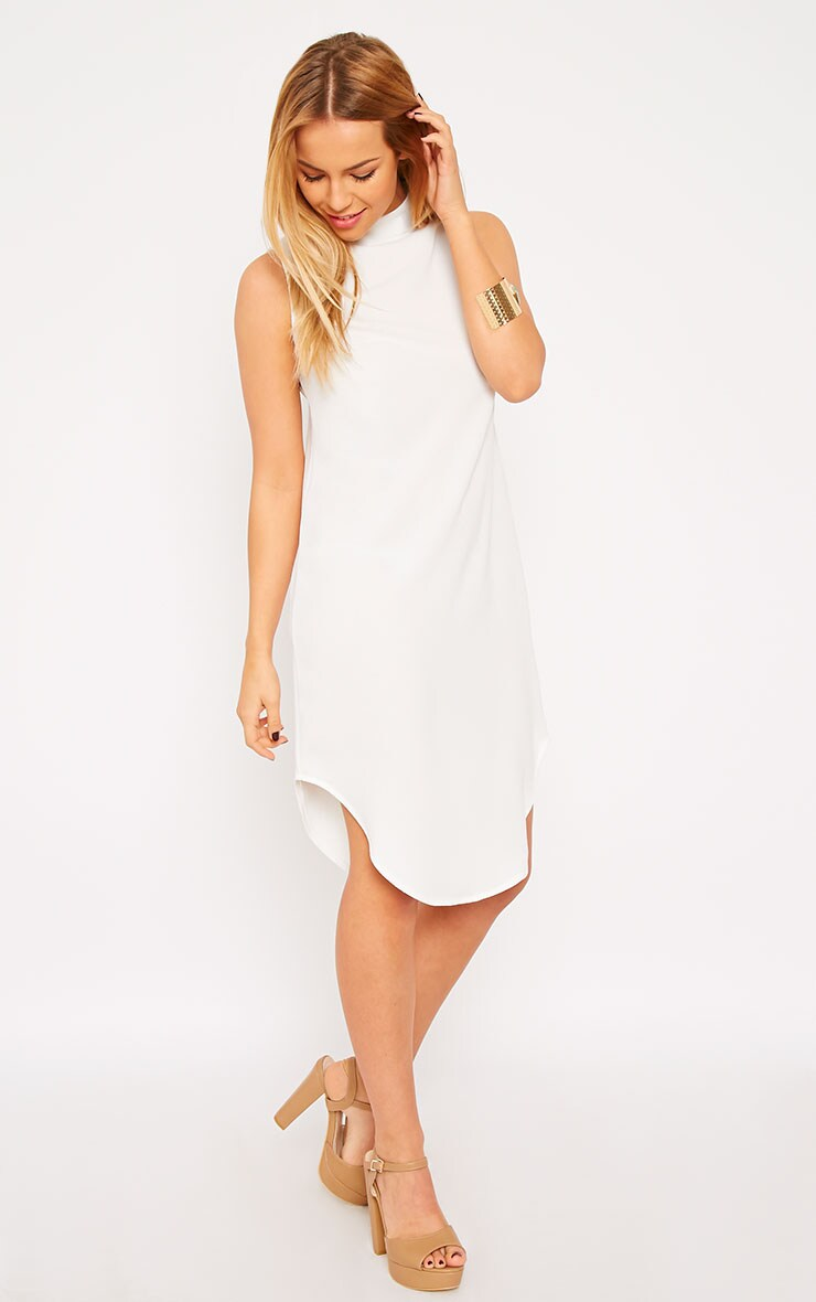 May White Crepe High Neck Dip Hem Shift Dress 3