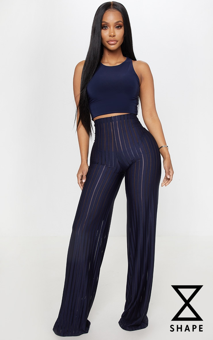 Shape Navy Burn Out Mesh Trousers