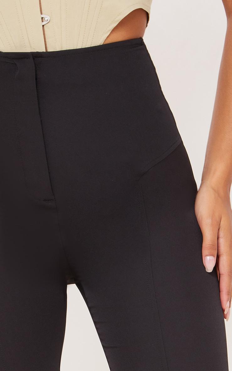 Black High Waisted Seam Detail Straight Leg Pants 4