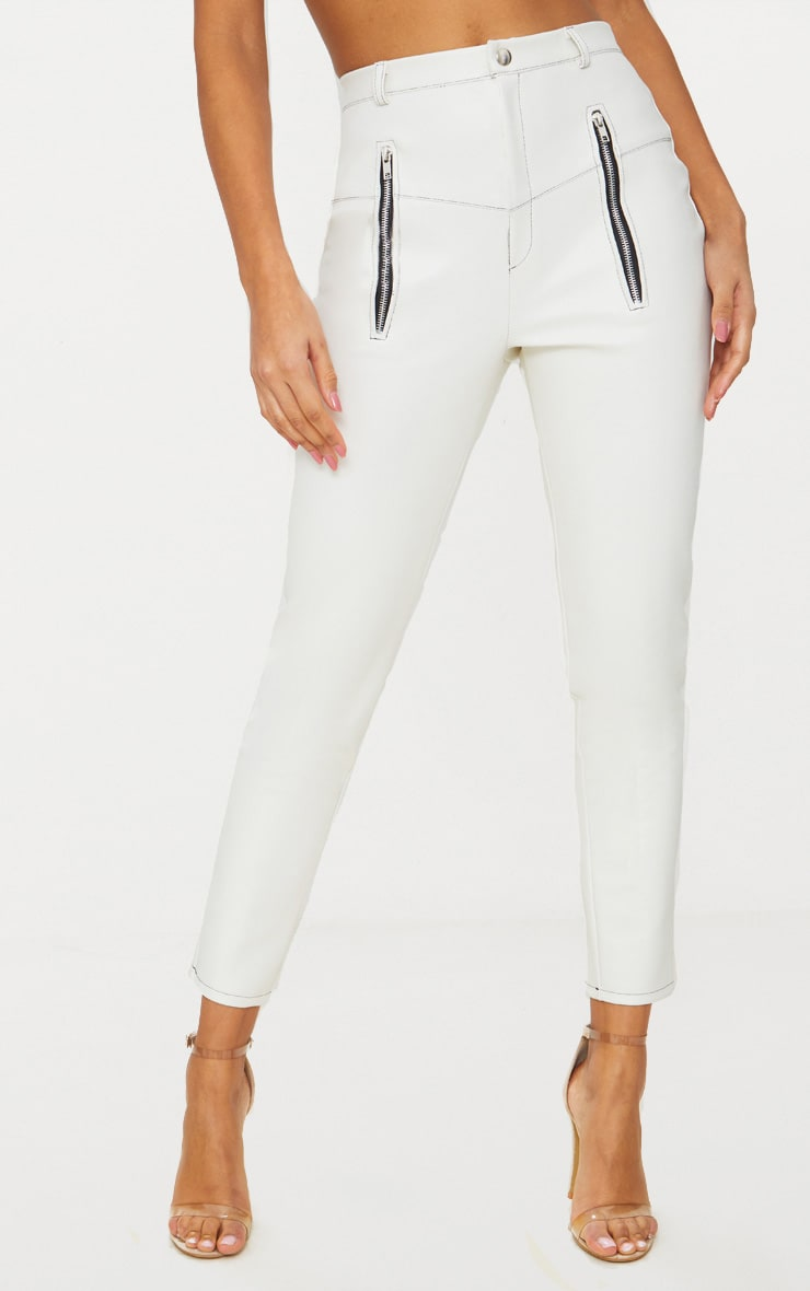 White Faux Leather Contrast Stitch Trouser 2