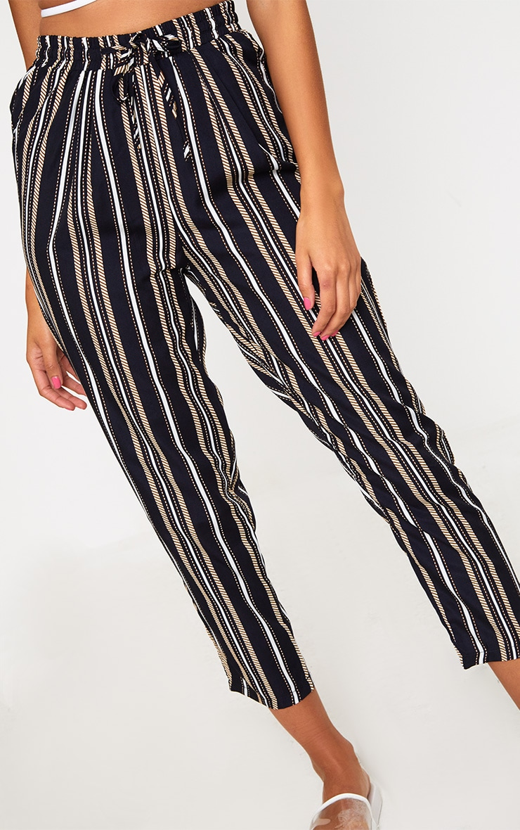 Black Multi Stripe Casual Trousers 5