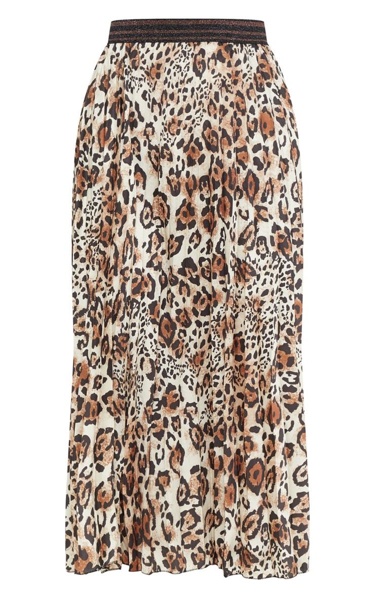 Brown Pleated Leopard Skirt  3