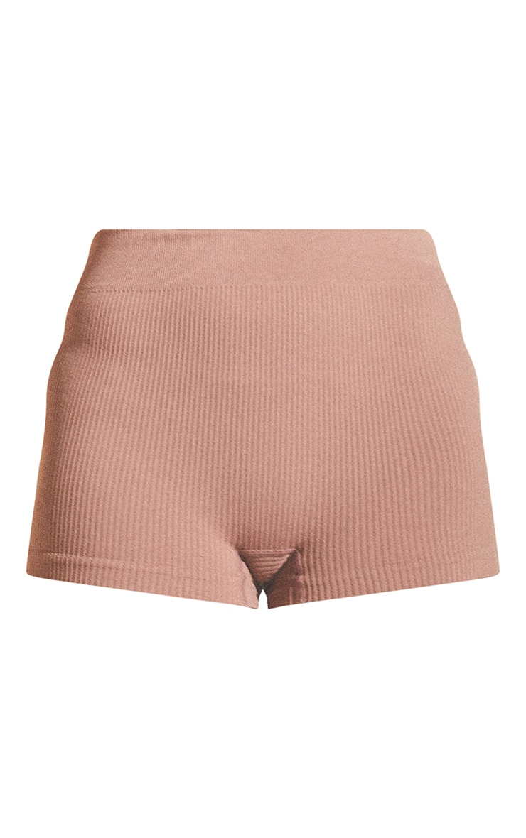 Taupe Structured Contour Rib Hot Pants 6