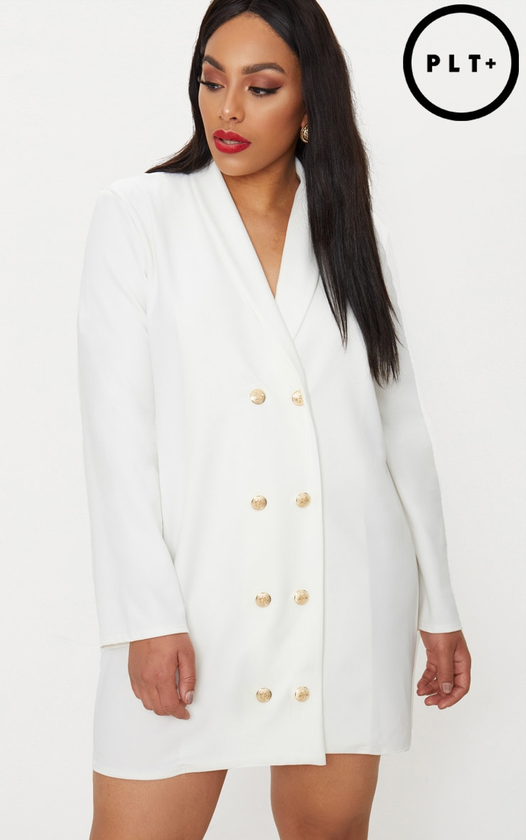 Plus White Gold Button Oversized Blazer Dress