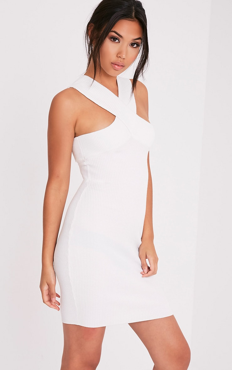 Aramiah Cream Ribbed Knit Body Con Mini Dress 4