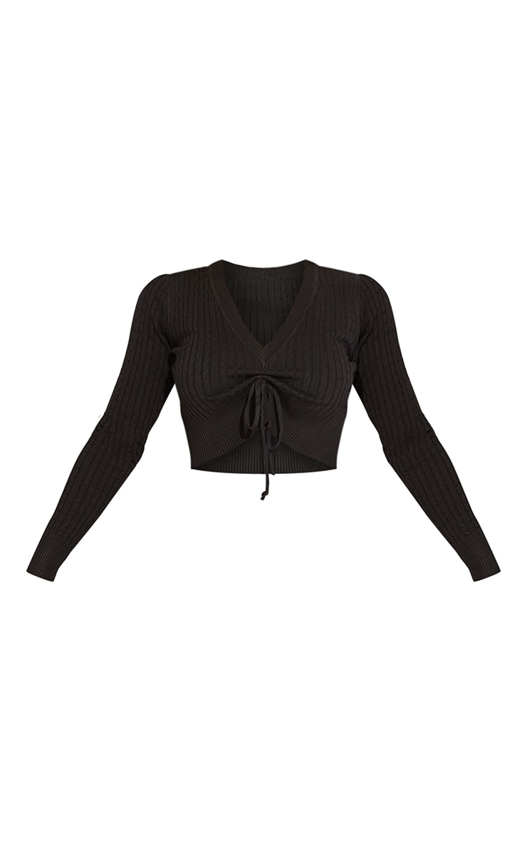Black Long Sleeve Ruched Front Cable Knit Sweater 5