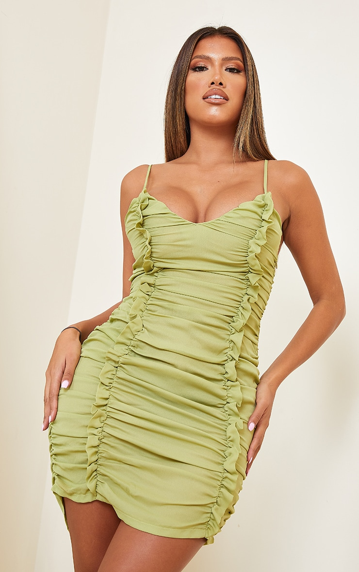 Shape Lime Chiffon Plunge Ruched Bodycon Dress 1