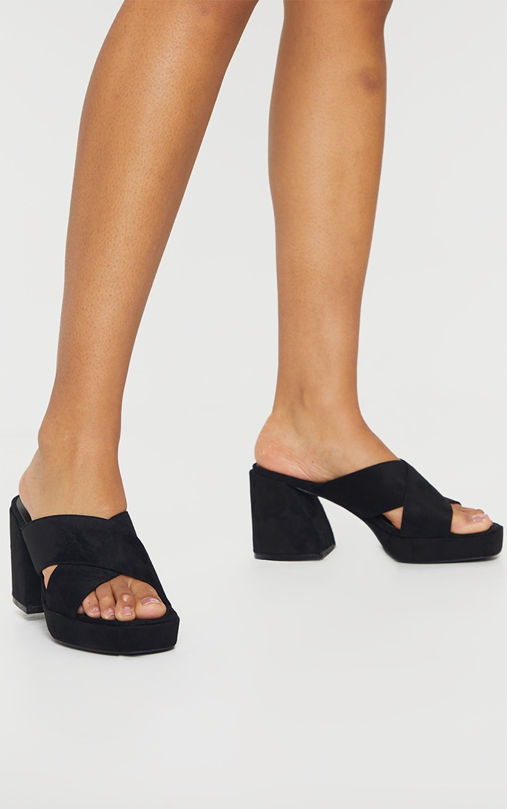 Black Extreme Block Heel Low Platform Cross Strap Mule Sandals 1
