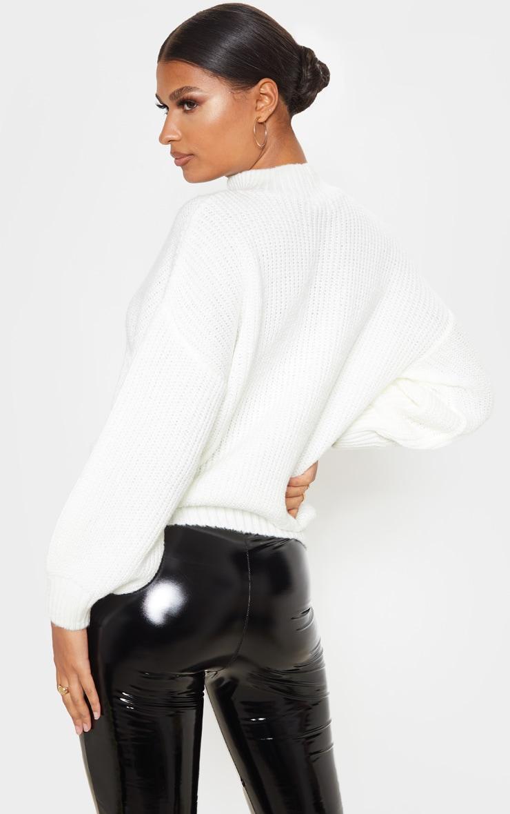 Cream Balloon Sleeve Fluffy Sweater 2