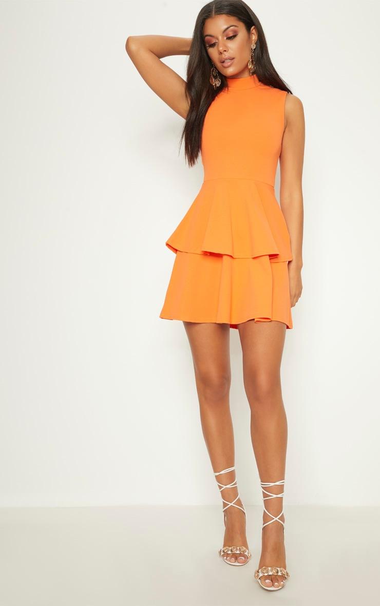 Bright Orange Sleeveless Shoulder Pad Detail Tiered Skater Dress 4