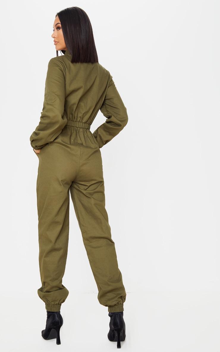 Khaki Boiler Contrast Zip Jumpsuit 2