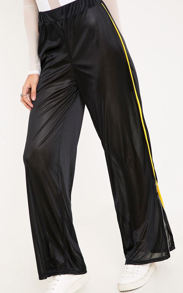 Karlotta Black Sheer Zip Wide Leg Track Pants 5