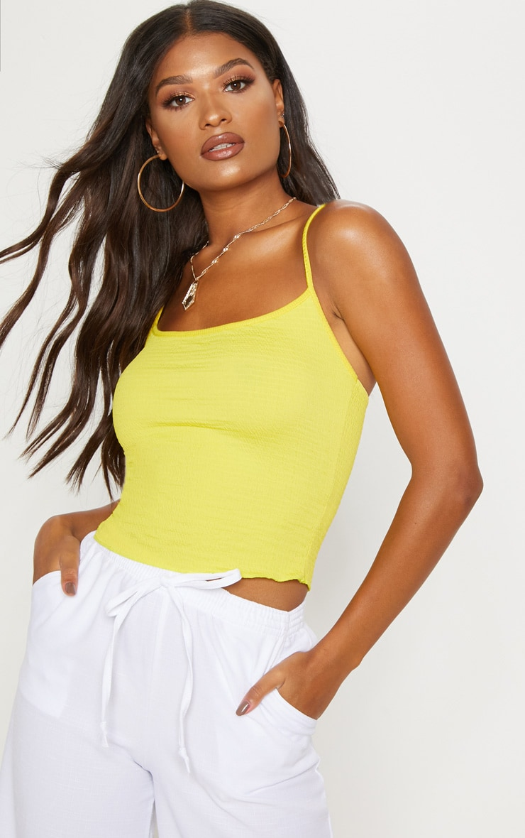 Yellow Crinkle Textured Cami Top