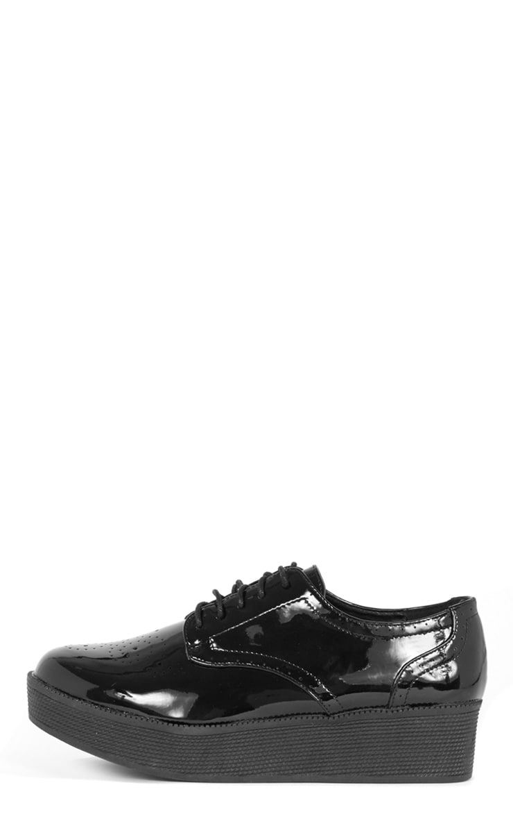Reza Black Patent Flatform Brogue  1