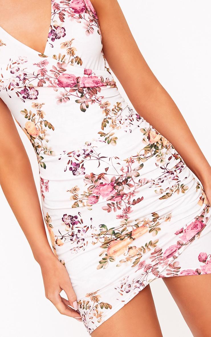 Amaris Cream Choker Detail Ruched Bodycon Dress 5
