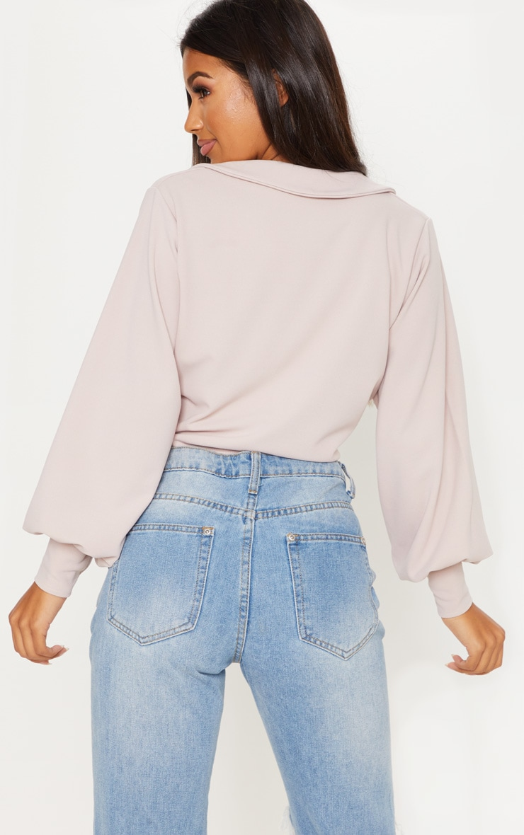 Blush Crepe Tie Front Crop Shirt 2