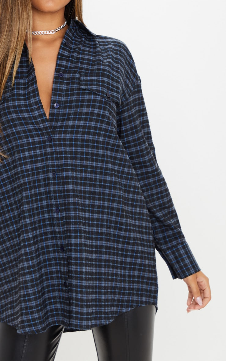 Navy Checked Oversized Dad Shirt 5