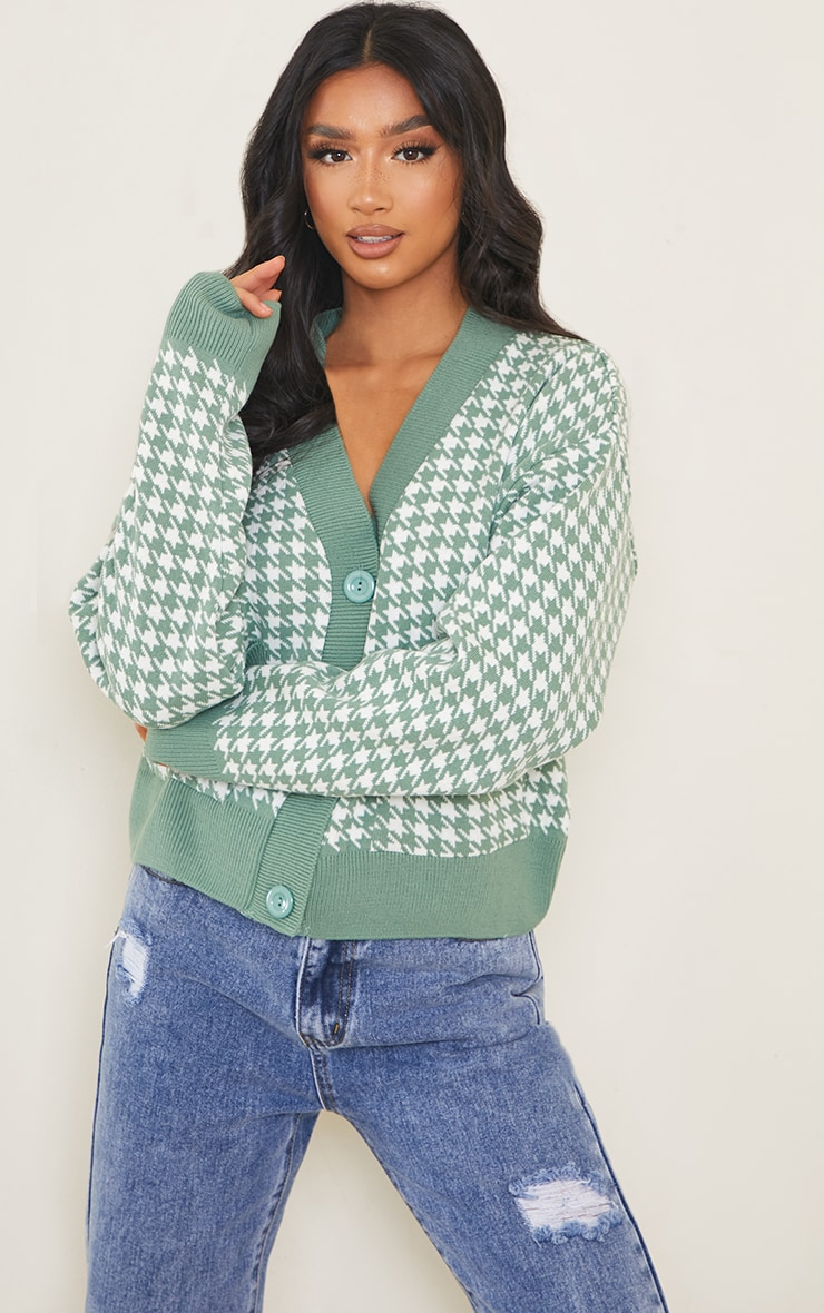 Petite Green Check Oversized Cardigan 1