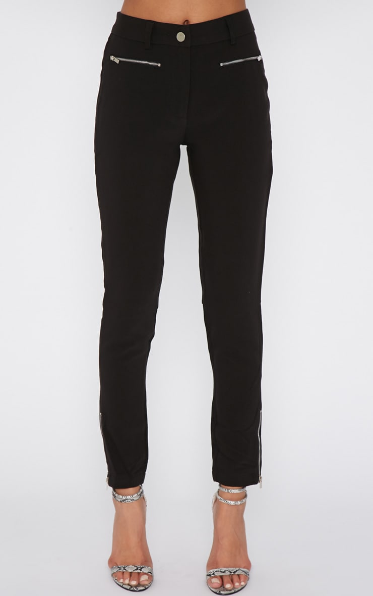 Larisa Black Zip Cigarette Trouser  2