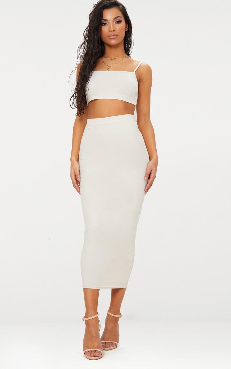Cream Cotton Stretch Midaxi Skirt  1