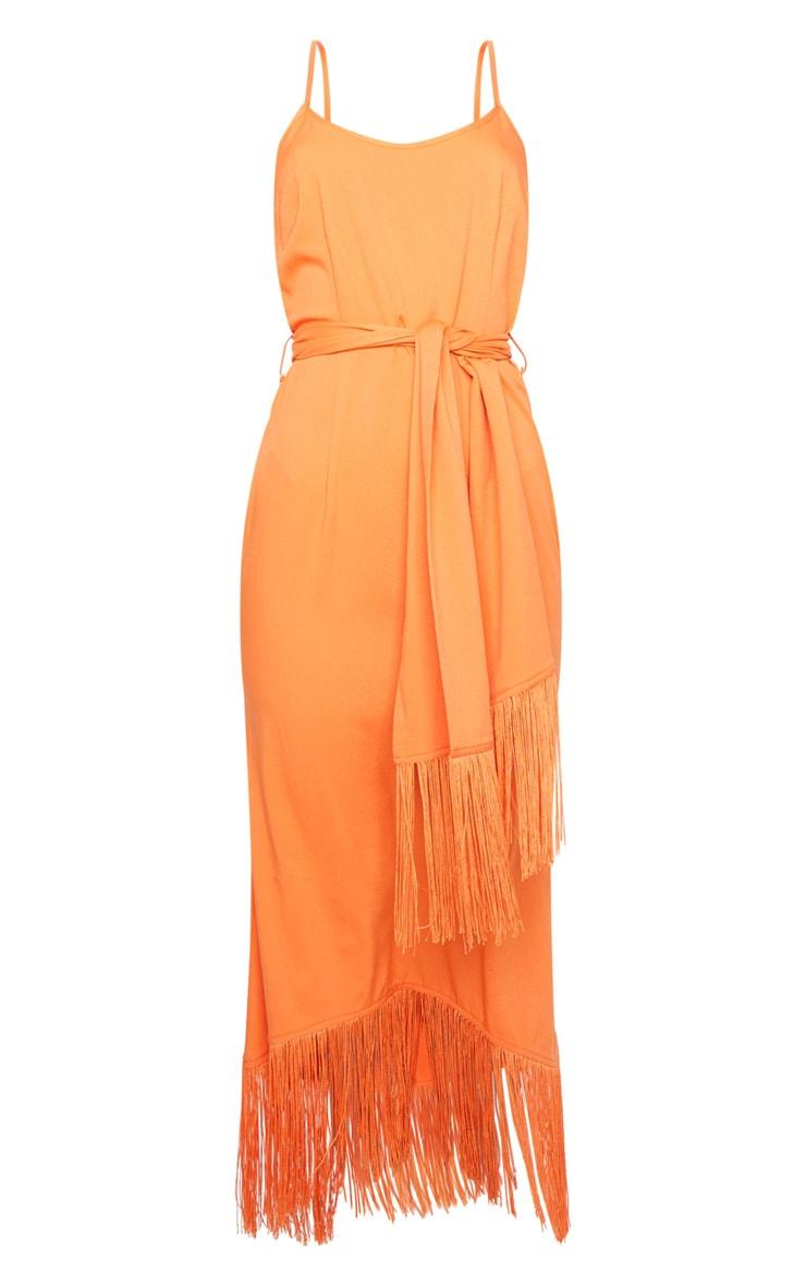 Bright Orange Tassel Detail Strappy Tie Waist Midi Dress 5