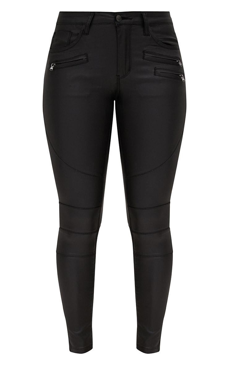 Black Coated Denim Biker Jean 3