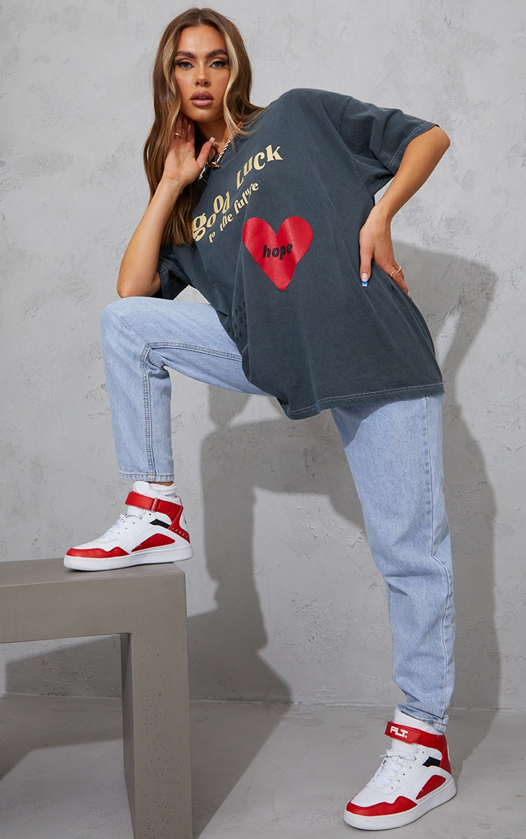 Charcoal Good Luck Heart Print Washed T Shirt 3